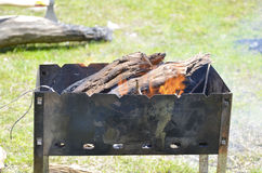 Fire on wood for BBQ in Central Asia on holiday. Fire on wood for BBQ in gril in Central Asia on holiday in Summer outdoors Royalty Free Stock Image