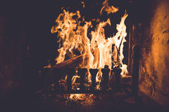 Fire on the Wood Burner Stock Image