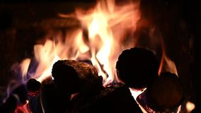 Fire wood burning in fireplace.  stock video