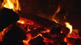 Fire wood burning in fireplace - closeup. HD 1080 static: Fire wood burning in fireplace - closeup stock footage