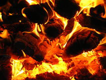 Fire wood burning in the furnace. Fire wood brighly burning in the furnace Stock Photography