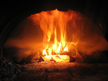 Fire wood burning in the furnace Royalty Free Stock Image
