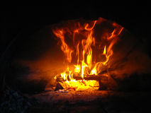 Fire wood burning in the furnace Royalty Free Stock Images