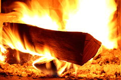 Fire wood is burning Stock Image