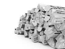 Fire wood concept rendered on white Stock Photo