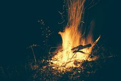 Fire Wood Dark Night Black Orange Warm Royalty Free Stock Image