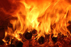 Fire with the wood in the oven Stock Photo