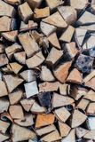 Fire wood in a pile indoor Stock Image