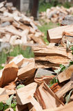 Fire wood piles. Fire wood left outside to dry in the sun Royalty Free Stock Photos