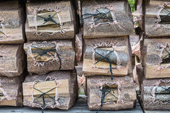 Fire wood ready for winter storm Stock Image