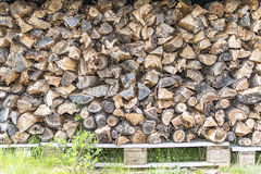 Fire wood ready for winter storm Royalty Free Stock Image