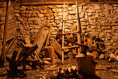 Fire wood shed Royalty Free Stock Images