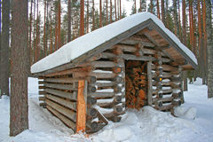 Fire wood shed in Finland. Stock Photo