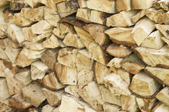 Fire wood staked high. Cut up fire wood, piled high Royalty Free Stock Photography