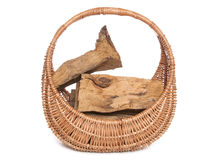 Fire wood in a wicker basket Royalty Free Stock Images