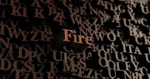 Fire - Wooden 3D rendered letters/message. Can be used for an online banner ad or a print postcard Royalty Free Stock Photography