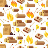 Fire and wooden seamless pattern royalty free illustration