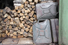 Fire Woods And Jerrycans Royalty Free Stock Images