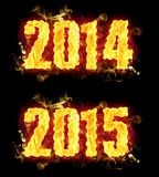 Fire 2014 2015. Word badges in blazing flames Royalty Free Stock Image