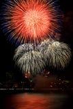 Fire work. Celebration fireworks on black sky background Stock Photography