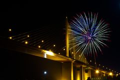 Fire work with bridge Stock Photos