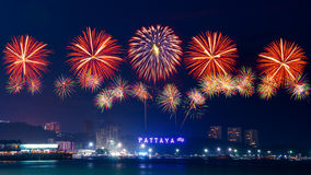 Fire Work Countdown 2014. Fire Works Countdown at Pattaya City, Thailand Stock Photo