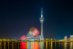 Fire work at macau tower Royalty Free Stock Images