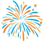 Fire work in orange and blue color Royalty Free Stock Photos