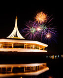 Fire work at rama 9 garden and reflection. Fire work at rama 9 garden Thailand and reflection Stock Photos