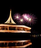 Fire work at rama 9 garden and reflection. Fire work at rama 9 garden Thailand and reflection Stock Photography