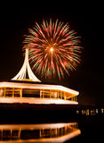 Fire work at rama 9 garden Thailand and reflection. Night Royalty Free Stock Photos