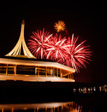 Fire work at rama 9 garden Thailand and reflection. Night Stock Images