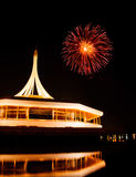 Fire work at rama 9 garden Thailand and reflection. Night Royalty Free Stock Image