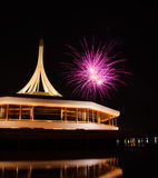 Fire work at rama 9 garden Thailand and reflection. Night Stock Image