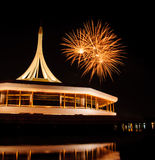 Fire work at rama 9 garden Thailand and reflection. Night Stock Photo