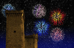 Fire works. Colourful fireworks and two old castle tower stock photo