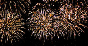 Fire works. On dark sky stock photography