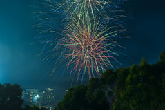 Fire Works on New Years Eve Over Adelaide CBD, South Australia Royalty Free Stock Images