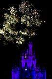Fire Works over Disney Castle Stock Image