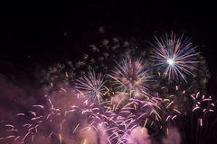 Fire works at sea. Fireworks during the fair of Hoorn, Netherlands Royalty Free Stock Photography