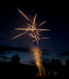 Fire works show in the mountains of Idaho in the forest Royalty Free Stock Photography