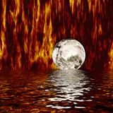 Fire World. Computer generated illustration. Flames shooting up all around globe. Fiery water reflections below Royalty Free Stock Image