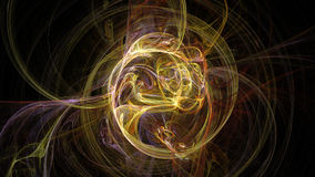 Fire yellow curves and circles abstract background. 3D Royalty Free Stock Photo