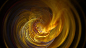 Fire yellow curves and circles abstract background. 3D Stock Photo