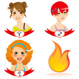 Fire Zodiac Women Royalty Free Stock Photography