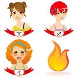 Fire Zodiac Women. Cartoon illustration of fire zodiac sign woman faces Royalty Free Stock Photography
