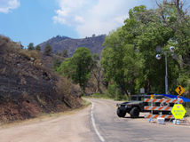 Fire Zone. Military police restricting vehicle access to 2012 High Park Fire zone in Colorado royalty free stock images