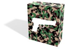 Firearm box. Illustration of a camouflage box with a white firearm silhouette Royalty Free Stock Photography