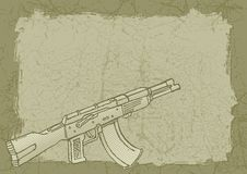 Firearm on grunge. Firearm sketch with woodcut shading on grunge tan background Royalty Free Stock Photos