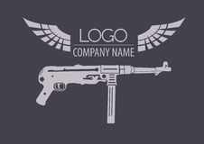Firearm logo template. Guns, rifles badge. Flat design Royalty Free Stock Images